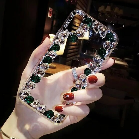 Glittering Rhinestone Side Clear Transparent Phone Case for Samsung gallery 10