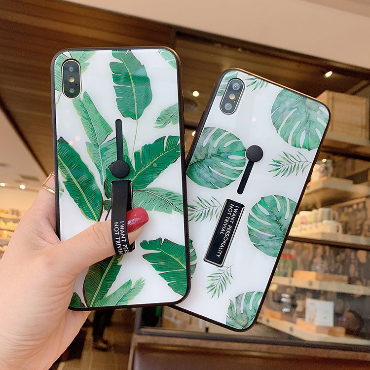 Green Leaves With Wrist Strap And Phone Stand Phone Case For All Apple Phone - Iphone X/XS