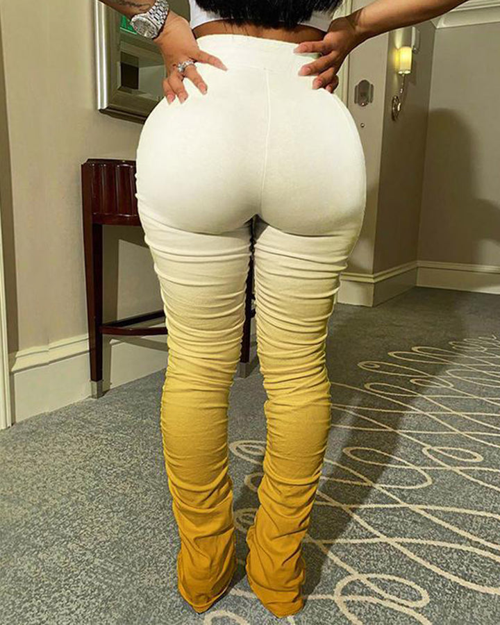 Ombre Drawstring Slant Pocket Stacked Pants gallery 13