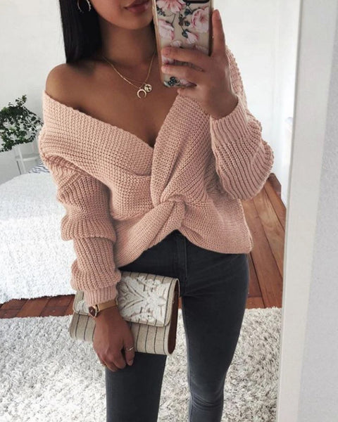 V-Neck Twist Front Chunky Knit Sweater