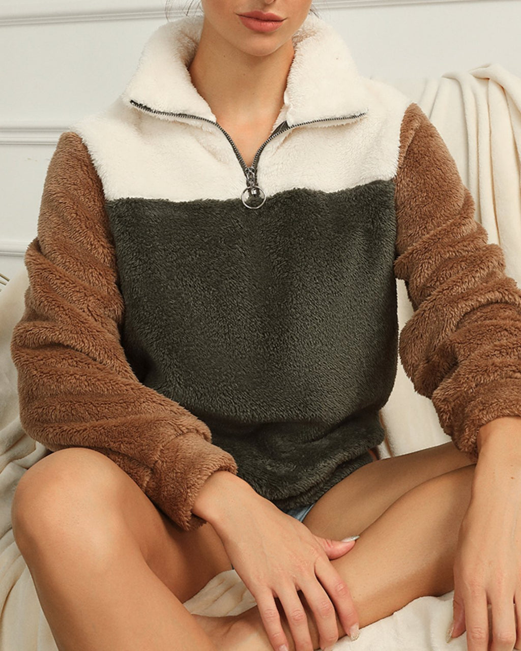Color Block Half Zip Teddy Sweatshirt