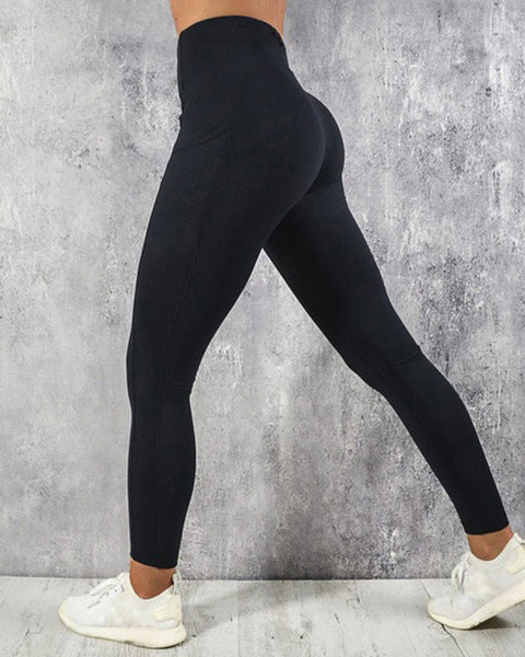 Topstitching Pocket Side Wide Waistband Sports Leggings
