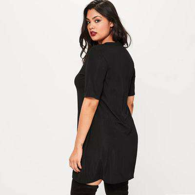 Plus Size Black Ring Neck Detail T-shirt Dress