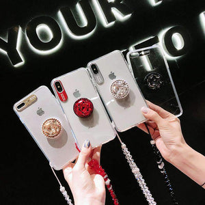 Contracted Pure Color Phone Case for Apple iPhone with Phone Holder and Strap