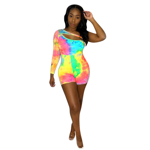 One Shoulder Tie Dye Hollow Out Romper