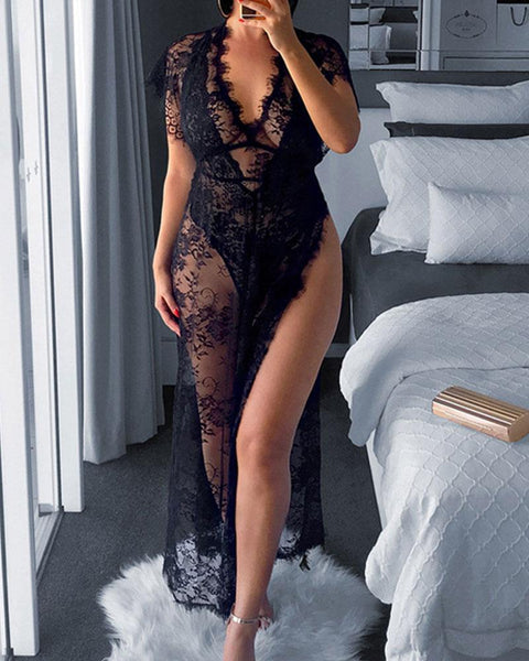 Eyelash Sheer Floral Lace Split Hem Nightdress With Panty