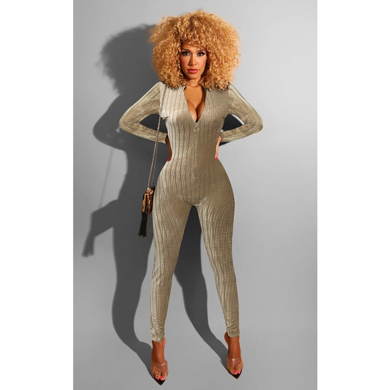 Ribbed Zipper Front Long Sleeve Deep V Neck Jumpsuit