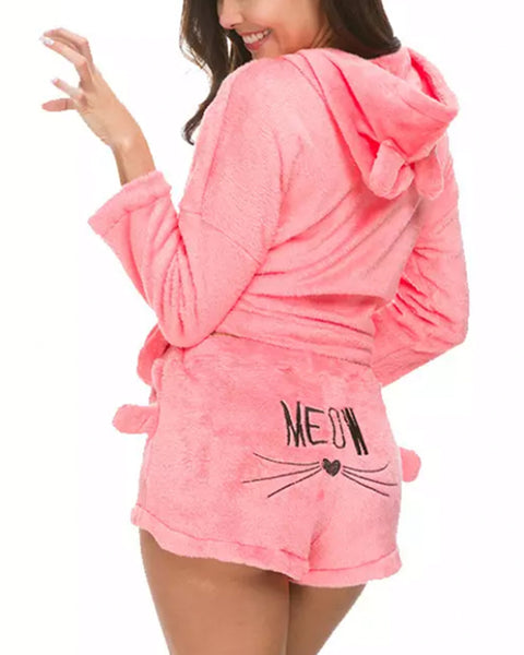 Cat Graphic Back Fluffy Solid Top & Shorts Set