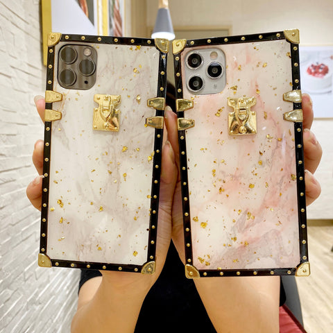 Gold Foil Decorated Marble Print iPhone Case with Hand Strap