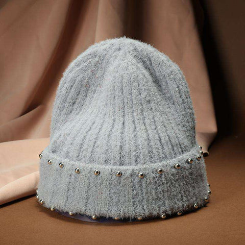 Punk Style Beaded Knit Beanie Hat gallery 3