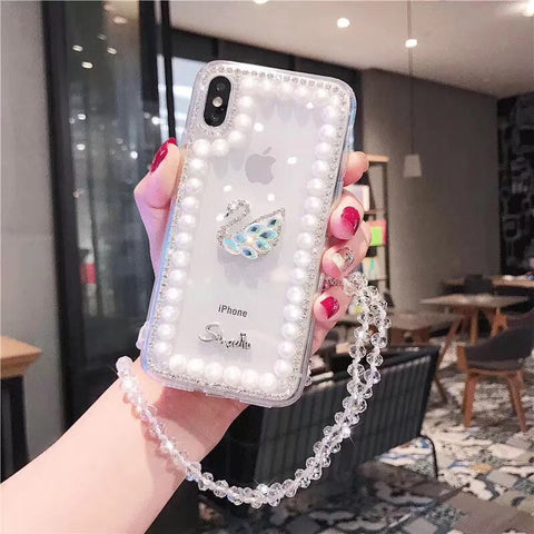 Clear Transparent Pearl Trim Deco Phone Case for Samsung with Hand Strap gallery 4