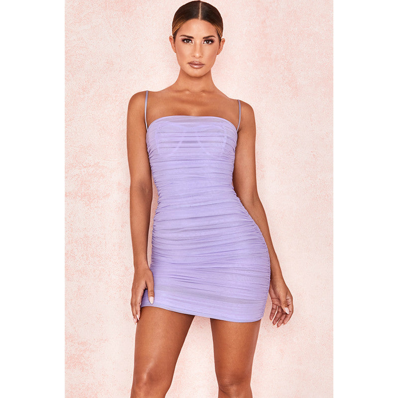 Purple Square Neck Ruched Mesh Mini Dress