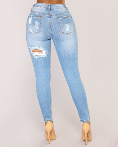 Mid Waist Elastic Extreme Ripped Jeans gallery 3