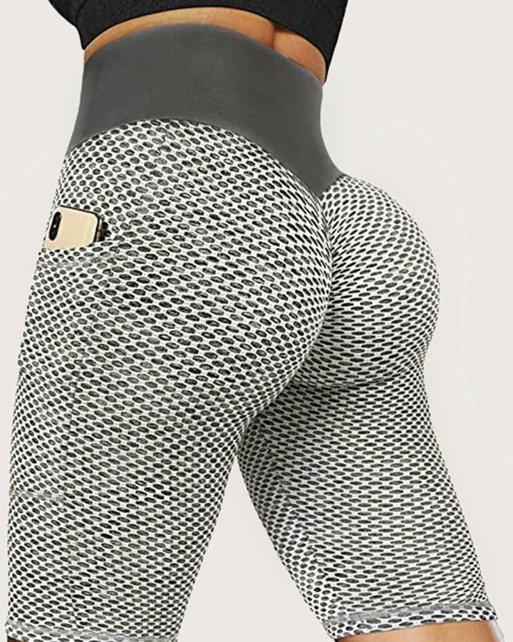 Solid Textured Butt Lift Pocket Detail Sports Shorts gallery 2