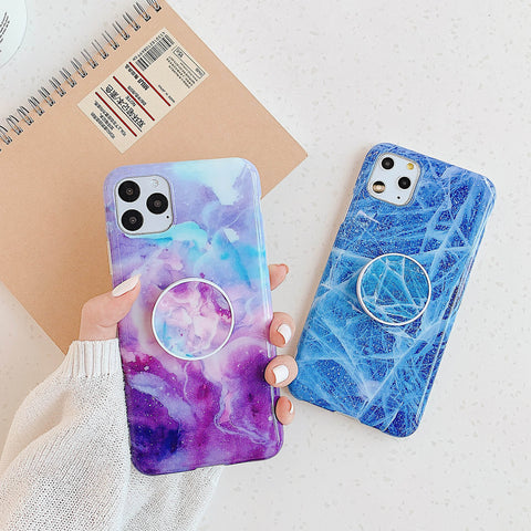 Trendy Gradient Marble Pattern iPhone Case with Phone Holder
