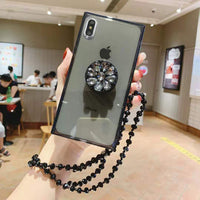 Korean Style Pure Color iPhone Case with Phone Holder and Hand Strap