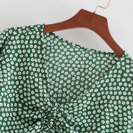 V-neck Drawstring Ruched Print Blouse gallery 5