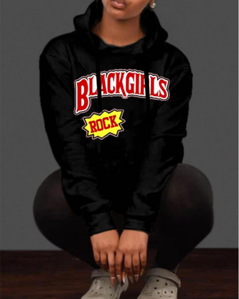 Letter Graphic Drawstring Long Sleeve Hoodie