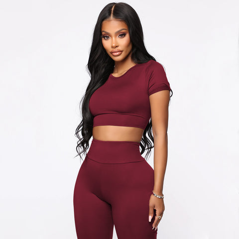 Round Neck Lace-Up Back High Waist Cropped Top & Short Set gallery 11