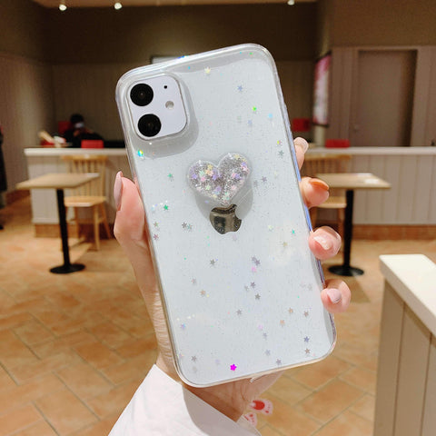 Glitter Colored Heart Pattern Little Star Detail Phone Case for Samsung gallery 7