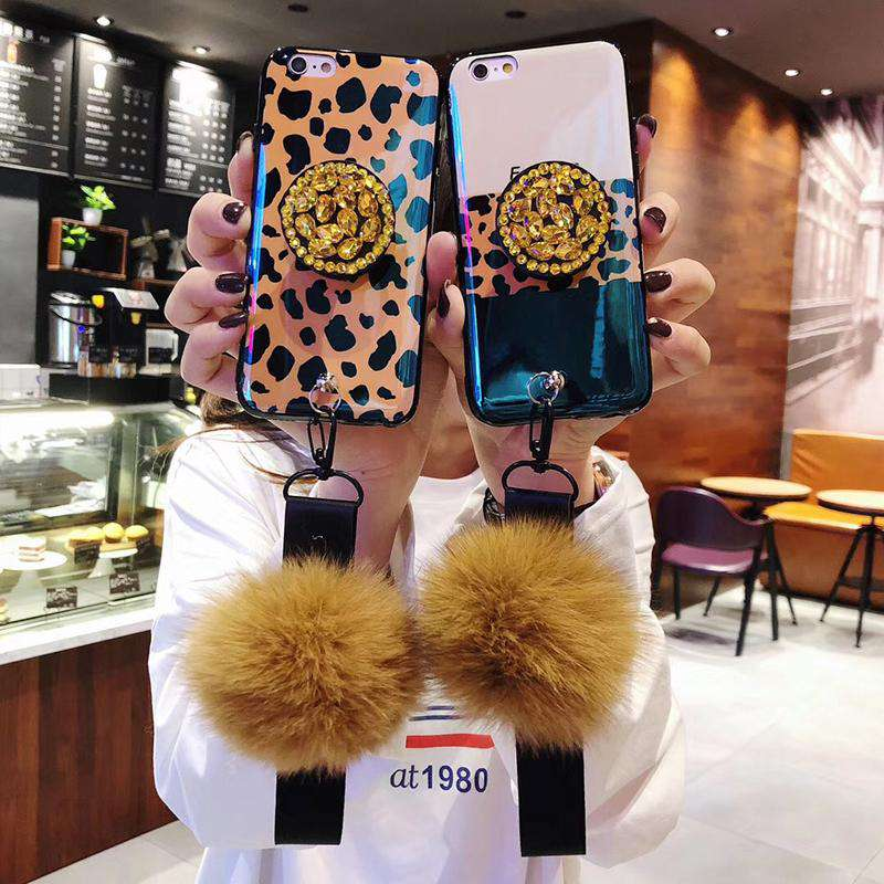 Leopard Print Pattern iPhone Case With Shining Phone Holder And Fur Ball And String