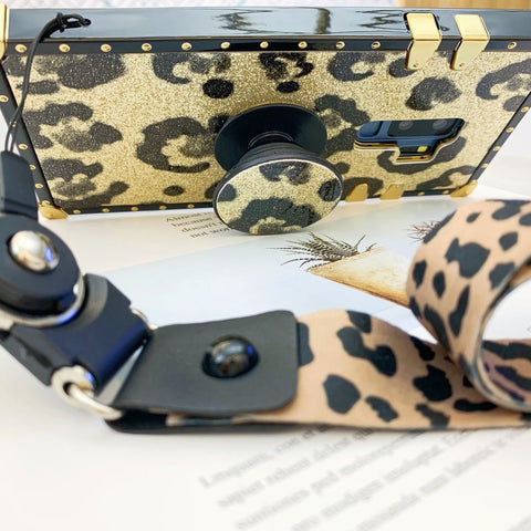 Luxury Leopard Pattern Phone Case for Samsung with Phone Holder and Hand Strap gallery 9
