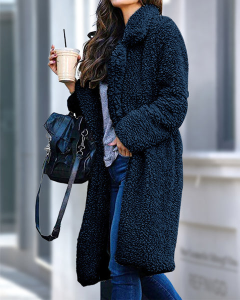 Solid Lapel Neck Teddy Coat