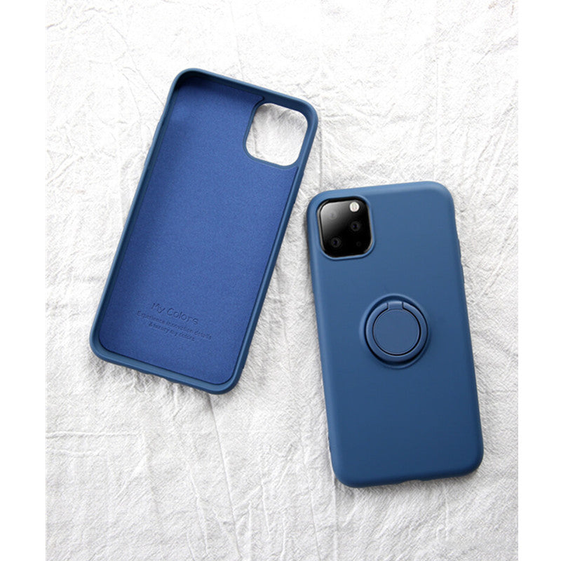 Navy Soft Liquid Silicone iPhone Case with Phone Holder