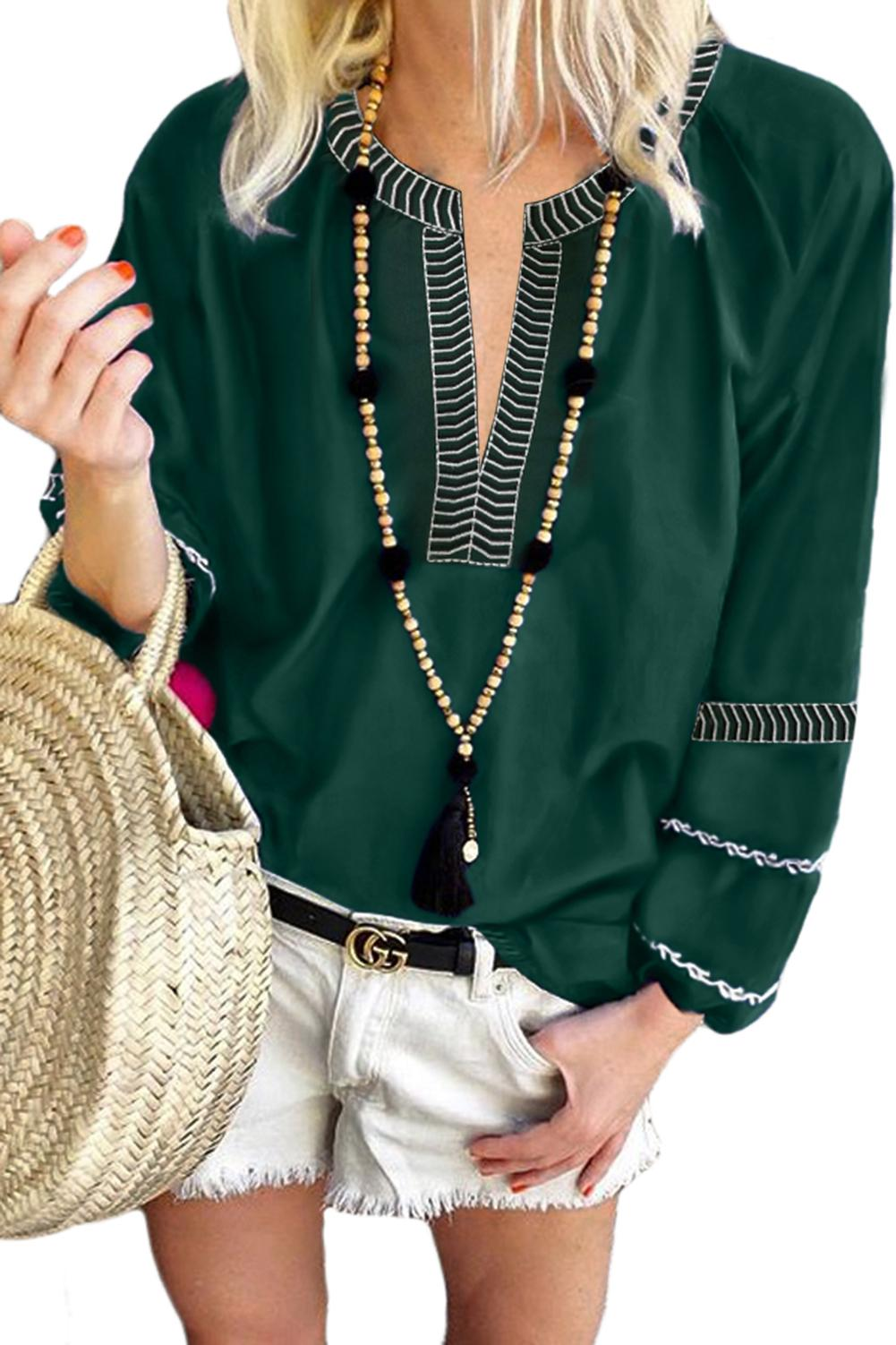 Green V Neck Bohemian Printed Lantern Sleeve Blouse