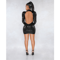 Glitter Sequin Cut Out Front Open Back Slinky Dress