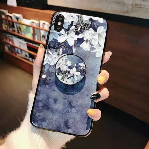Literary Floral Pattern Phone Case for Samsung with Phone Holder gallery 9