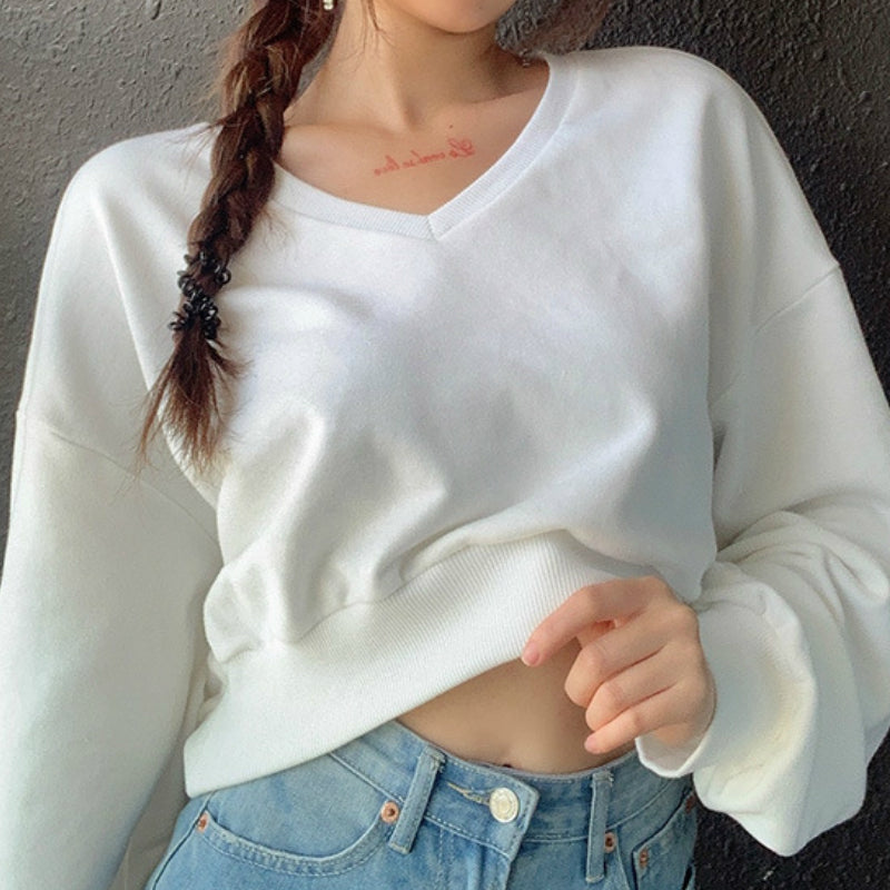 V-Neck Drop Shoulder Crop Sweatshirt