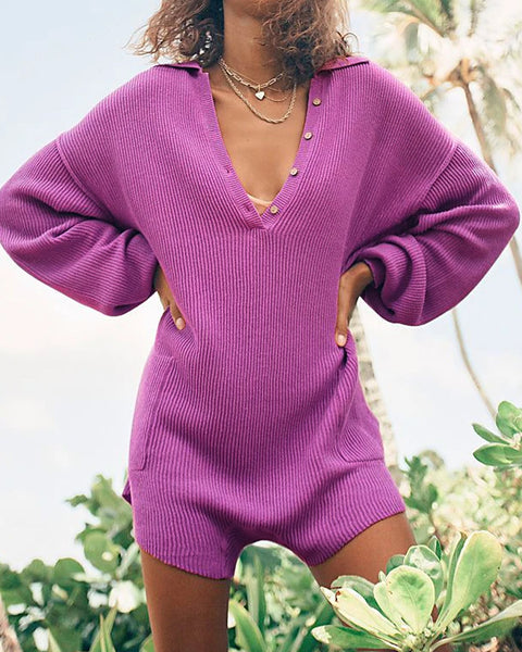 Button Up Pocket Side Rib-Knit Sweater Romper gallery 1