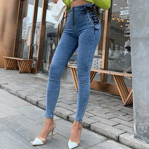 Elastic Drawstring Side High Waist Skinny Jeans gallery 10