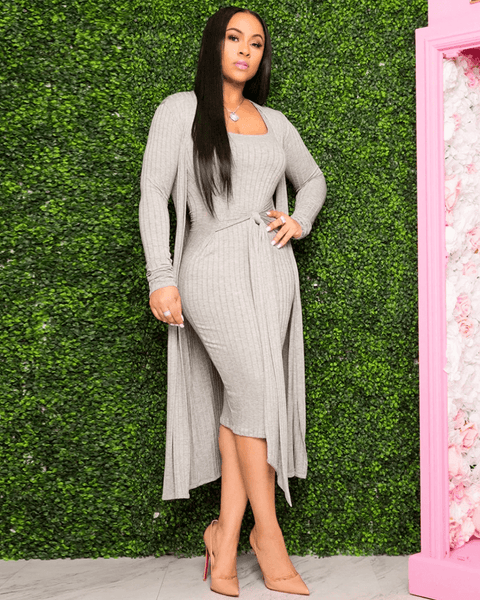 Ribbed Knit Scoop Neck Tie Waist Midi Dress with Cardigan