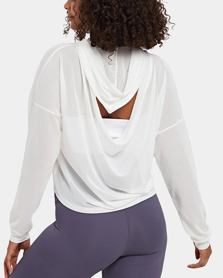 Mesh Sheer Hollow Out Sports Hoodie gallery 3