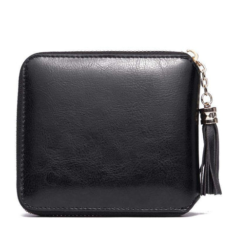 All-Match Cow Leather Minimalism Short Sized Black Card Bag gallery 3
