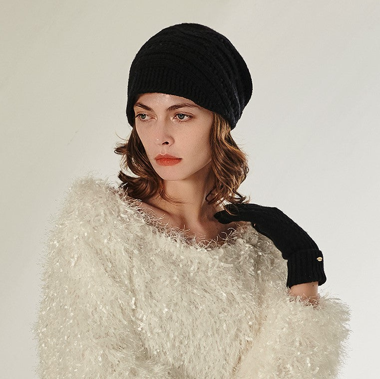 Solid Cable Knit Wool Beanie Hat