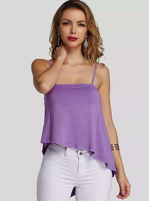 Purple Backless Design Spaghetti Strap Camis