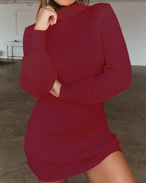 Rib-Knit High Neck Solid Sweater Dress