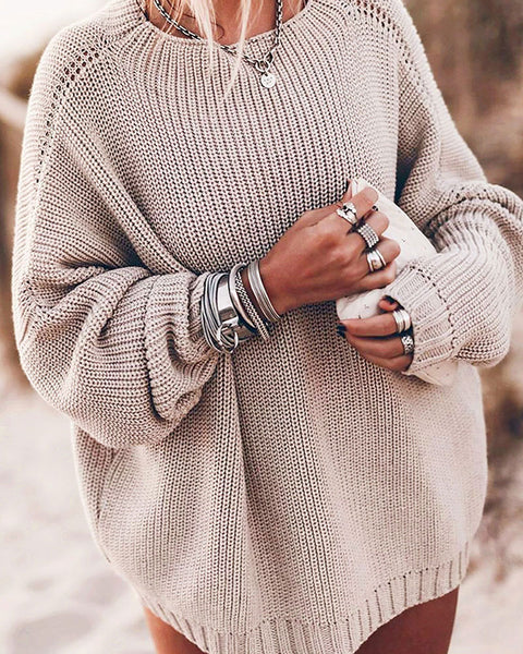 Drop Shoulder Chunky Knit Oversized Sweater