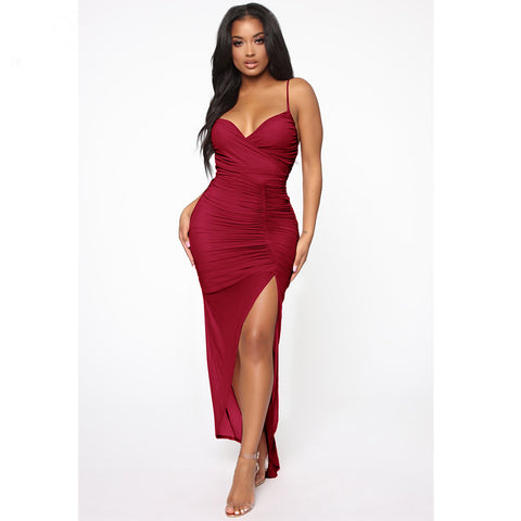 Sweetheart Neck Cami Ruched Side Slit Maxi Dress
