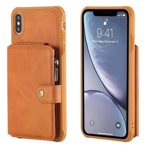 Business Delicate Leather Wallet Style iPhone Case With Card Holder