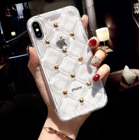 Clear Diamond Pattern Rivet Stud Phone Case for Samsung gallery 6