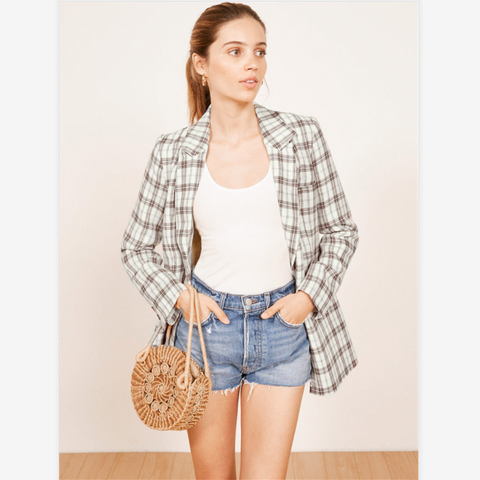 Chic Plaid Print Button Pocket Front Blazer