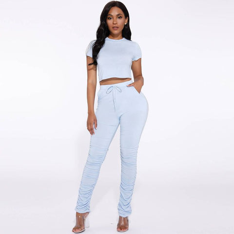 Round Neck Ruched Side Drawstring Waist Top & Pants Set gallery 12