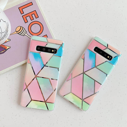 Color Block Electroplate Rhombus Marble Phone Case for Samsung gallery 4