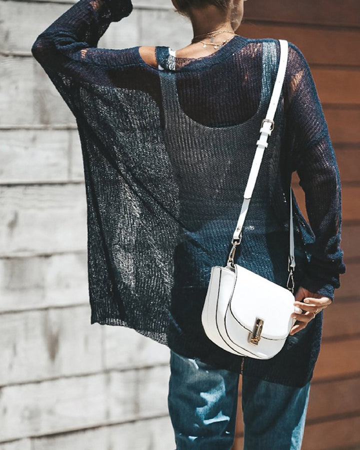 Chunky Knit Ripped Mesh Sheer Oversized Sweater gallery 4