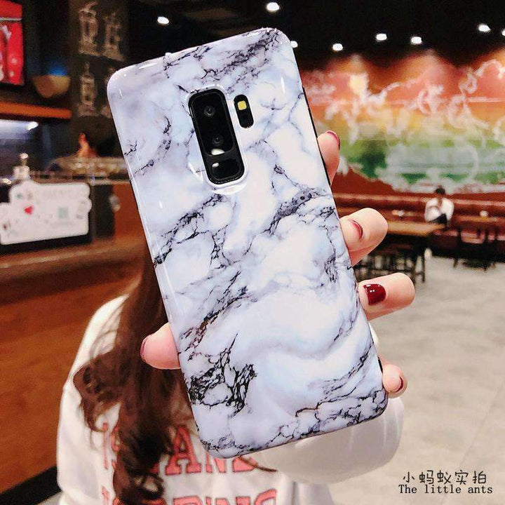 Anti-Fall Black&White Marble Phone Case for Samsung gallery 10