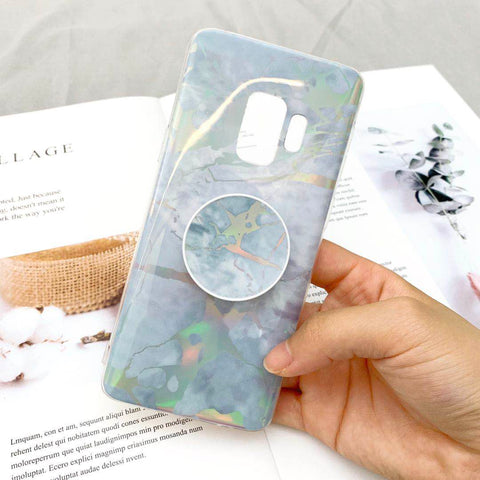 Marble Design Ceramic Pattern Super Slim Cover Jade Image Shell Phone Case for Samsung with Phone Holder gallery 11